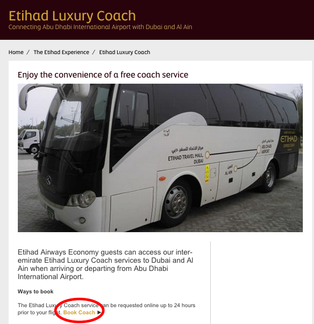 How To Book the Complimentary Etihad Coach